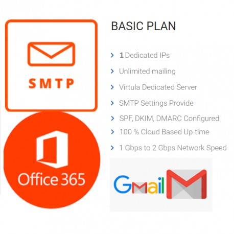 Unlimited SMTP - Full DKIM, SPF FOR OFFICE365 - GMAIL Port ( 587 or 25 )